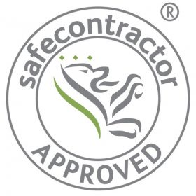 Safe contractor approved logo with icon in green and grey
