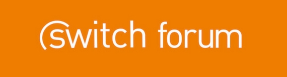 Binn Group Switch logo. Switch forum in white text on a orange background