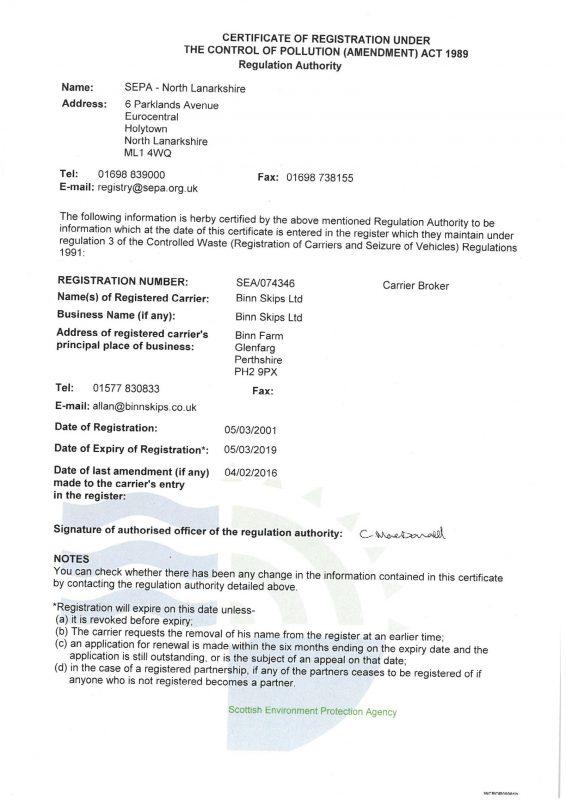Binn Group Waste Carrier Licence certificate