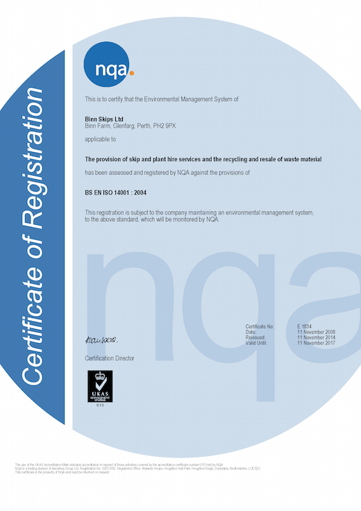 Certificate of Registration ISO 14001