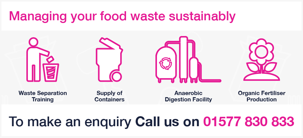 Binn Group food waste services graphic with pink image outlines on a white background