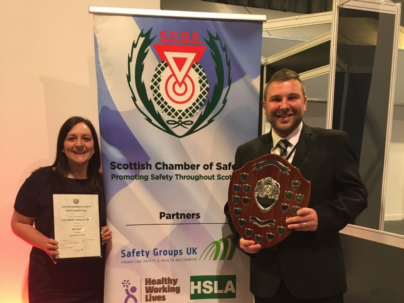 Binn Group Safety, Health and Environment (SHE) manager Kris Greig and Jenna Moir, SHE co-ordinator, proudly show off the industry award.