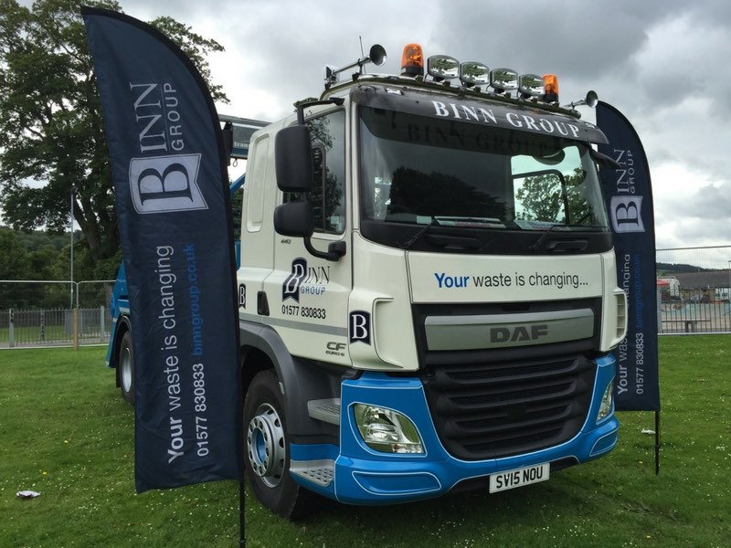 Binn Group branded truck with branded flags at Perth Show in 2014