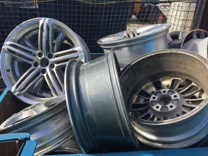 A collection of metal rims from tyres