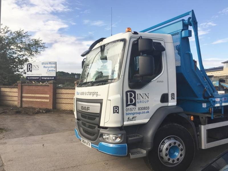 Binn Group branded skip truck parked outside Shore Road Recycling Centre, Perth