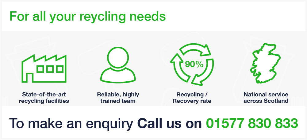 Binn Group recycling services graphic with green image outlines on a white background