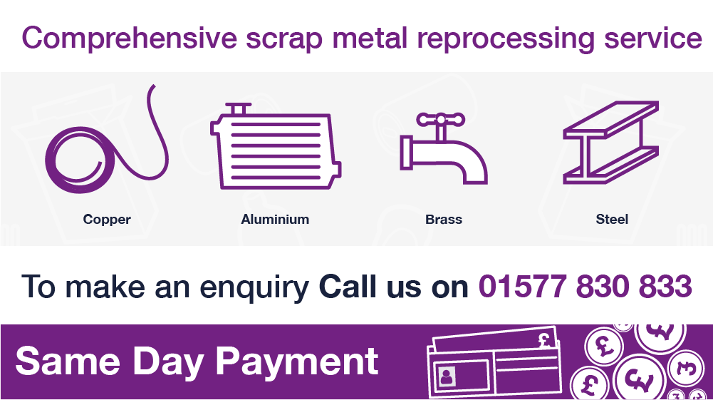Binn Group scrap metal services Home page graphic with purple image outlines on a white background