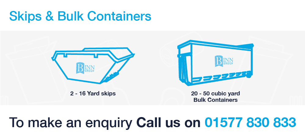 Home page skip services banner showing a smooth sided ro ro container with Binn Group logo