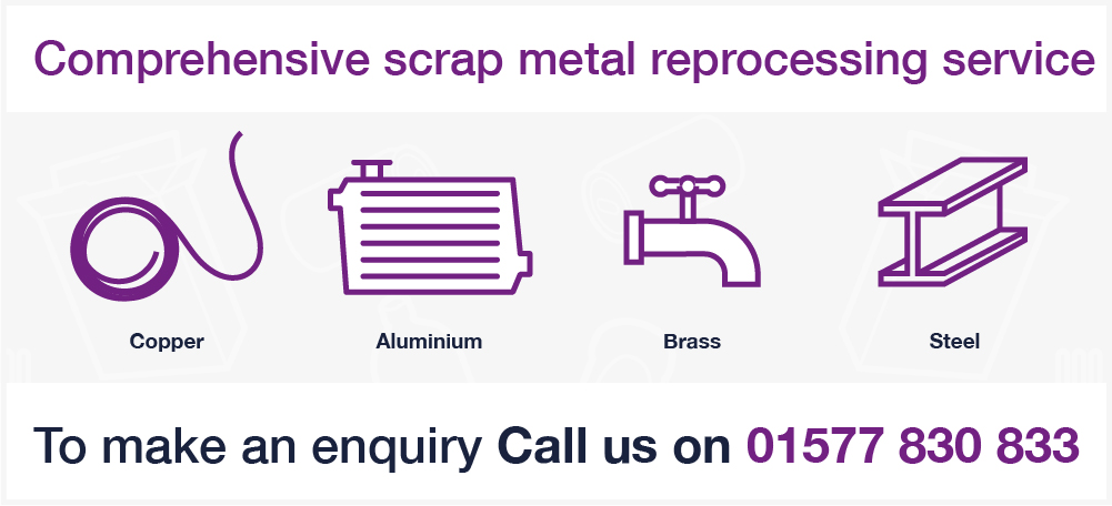inn Group scrap metal services graphic with purple image outlines on a white background