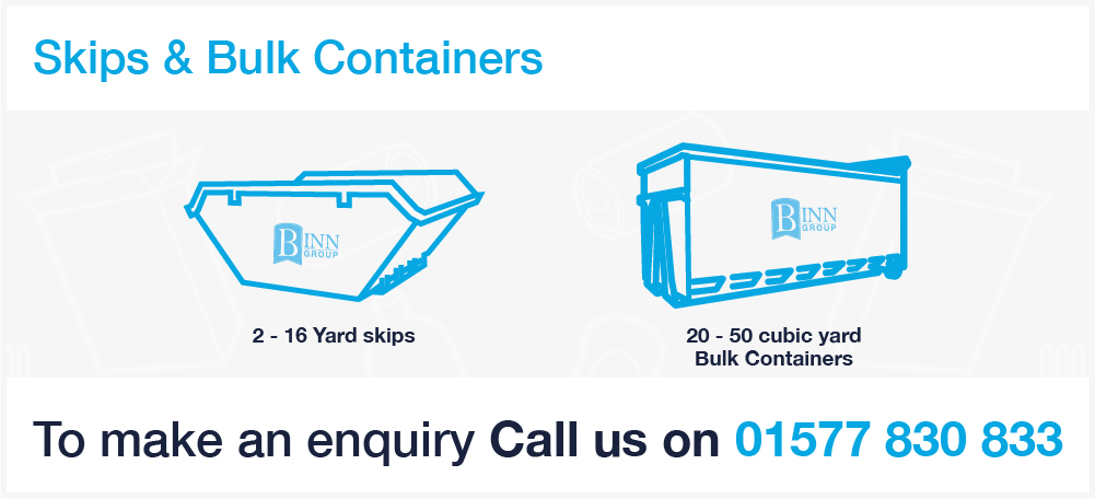 skip services banner showing a smooth sided ro ro container with Binn Group logo